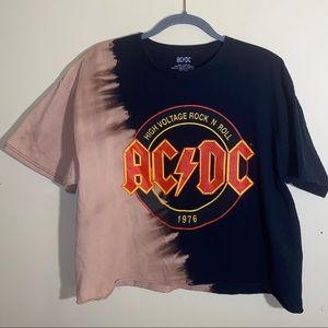 AC/DC distressed graphic band tee crop too